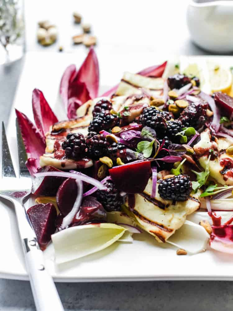 Cheese makes salads better - especially a grilled or fried halloumi cheese! Halloumi Salad with Beets and Blackberries is full of flavor and easy to make.