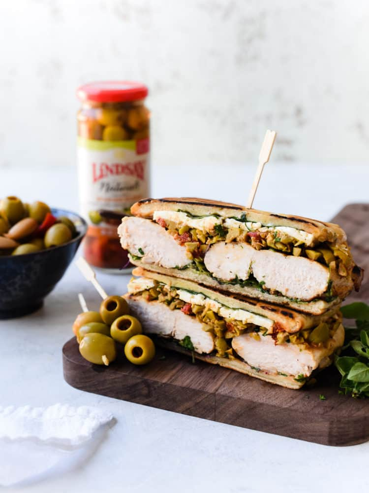Don't throw out the olive juice! Use it for brine in this Olive-brined Chicken Sandwich with Olive Tapenade gets its incredible flavor from chicken brined in a Spanish blend olive brine, savory feta cheese, and a hearty spread of olive tapenade.