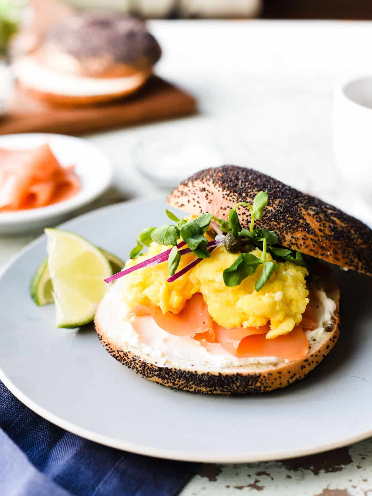 Scottish Smoked Salmon Bagel with Scrambled Eggs