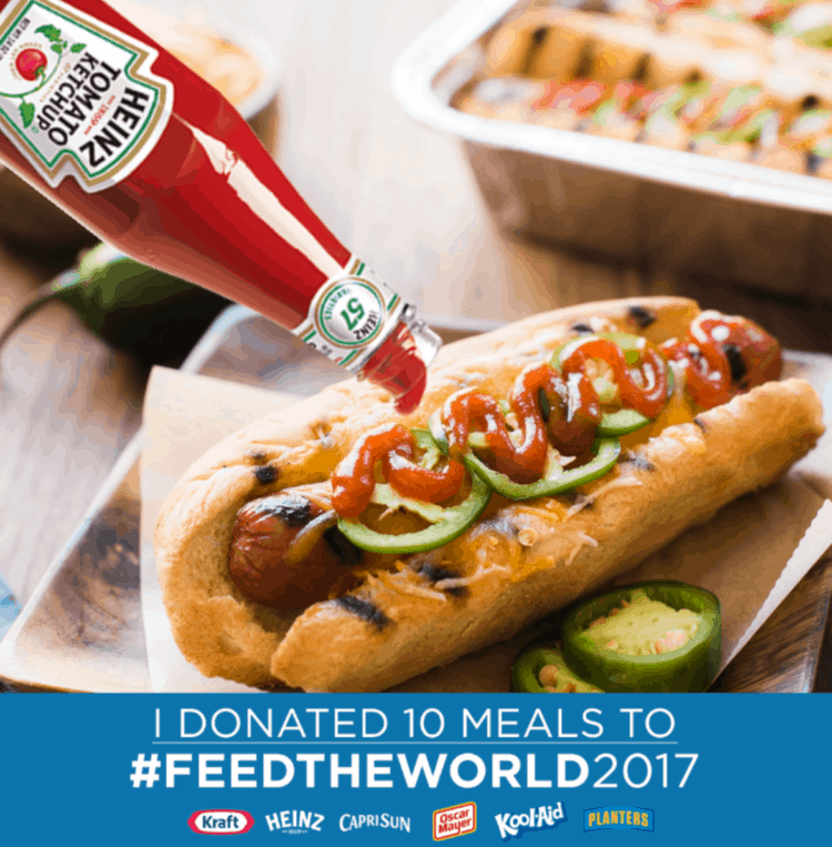 """Let's help end hunger with @kraftrecipes. Get this recipe for Sriracha Hot Dogs and learn how to """"Feed Your Family, Feed the World"""" #feedtheworld2017 #donate #ad"""