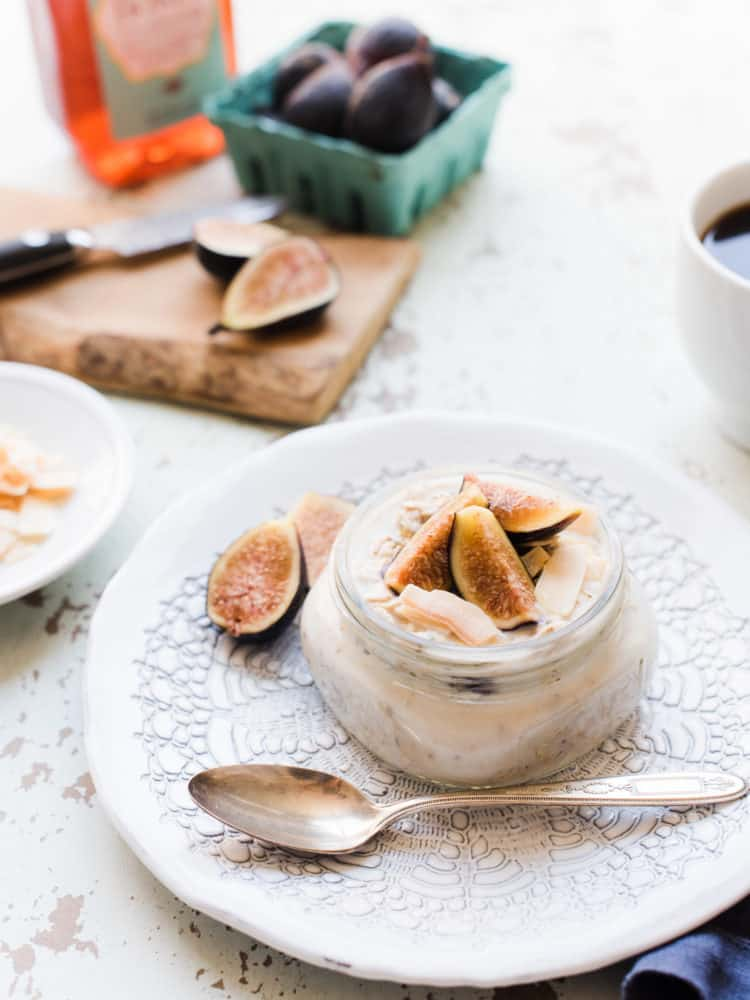 Overnight Oats with Figs, Honey and Toasted Coconut is the perfect breakfast for summer – make it the night before so you can grab it and go!