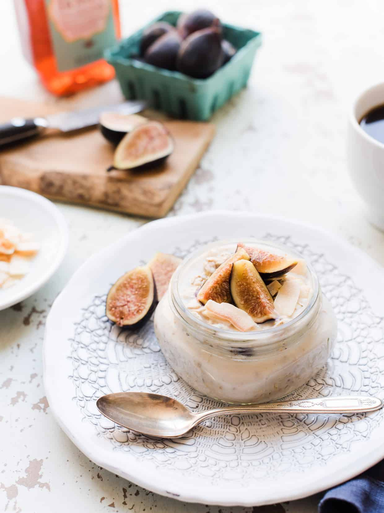 Overnight Oats with Figs, Honey and Toasted Coconut