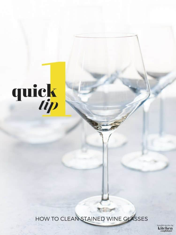 Stemware develops residue stains over time, not matter how well you wash. Learn how to clean stained wine glasses with One Quick Tip, including stubborn wine residue!