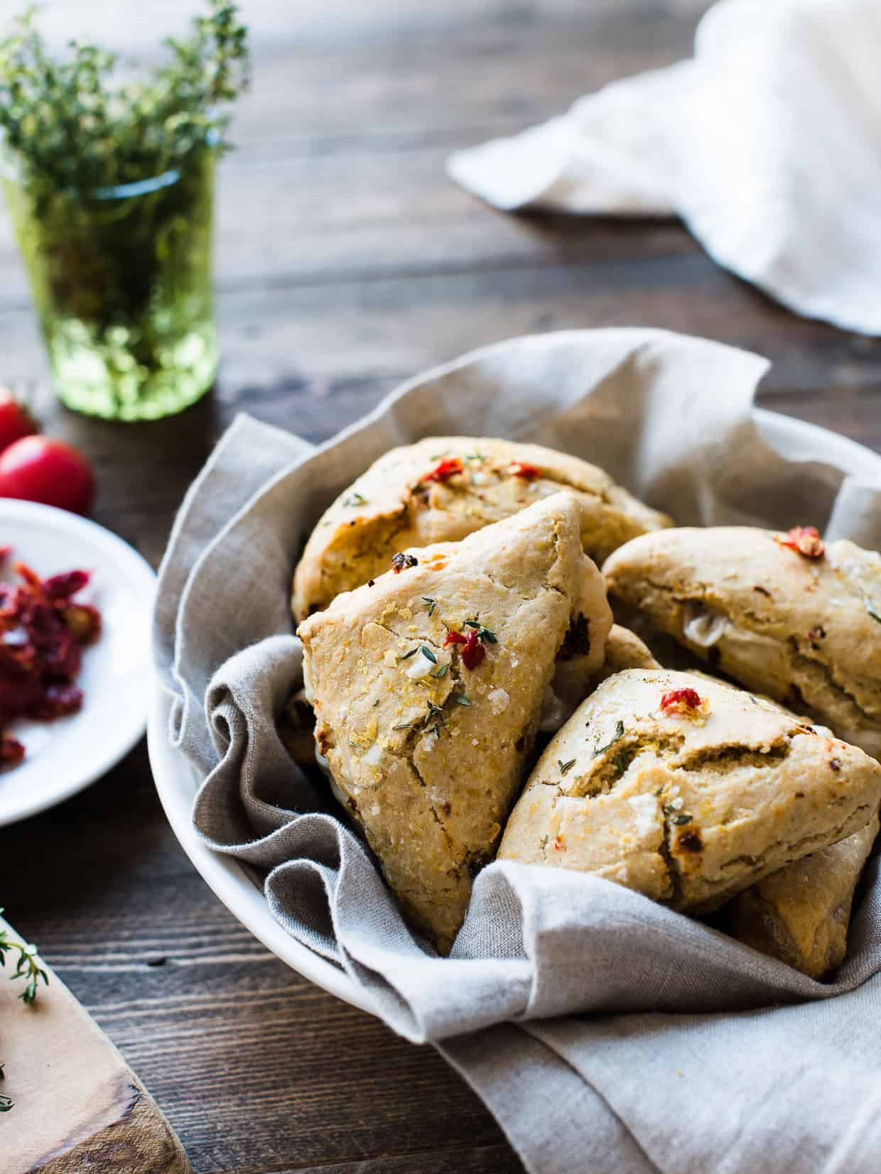 Sun-dried Tomato and Thyme Scones (Vegan)