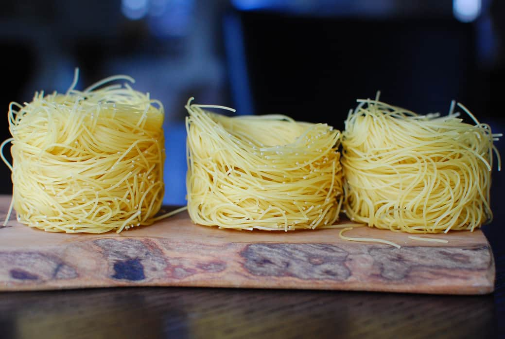 Angel Hair Nests with Shrimp, Leeks and Yellow Squash