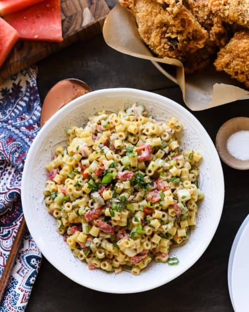 This Fireworks Pasta Salad adds kick to an updated classic. Make it the night before a gathering and let the flavors really come together for a spicy twist on macaroni salad!