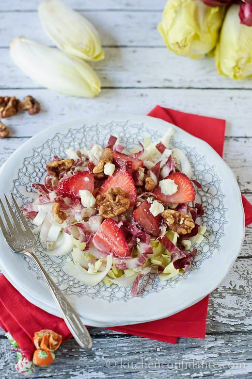 Endive & Strawberry Salad, with Gorgonzola, Walnuts and Strawberry Dressing