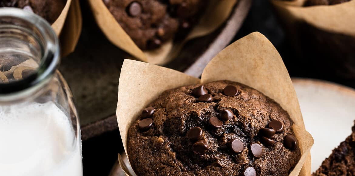 Chocolate banana muffins on a plate with glasses of milk.