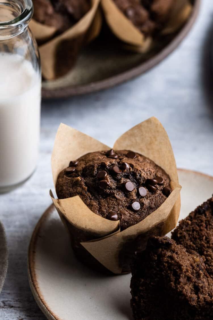Chocolate banana muffins on a cream plate with glass of milk.