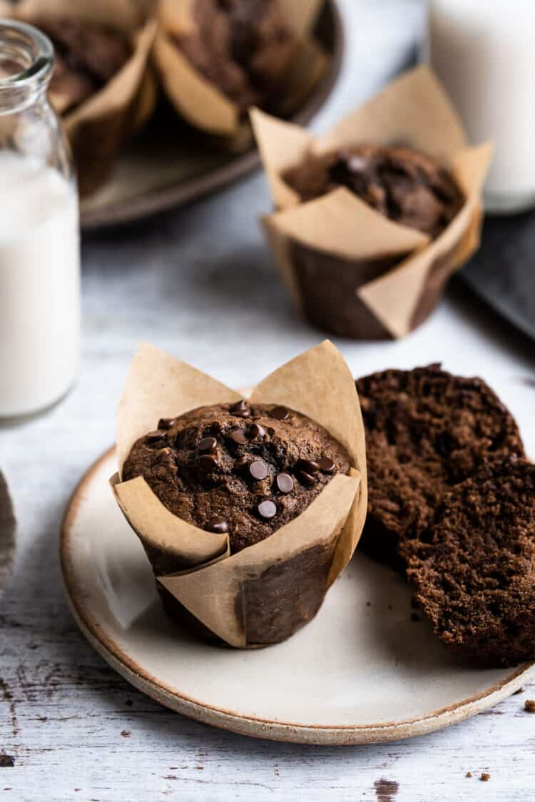 Chocolate Banana Muffin on a plate with extra muffins on the side.