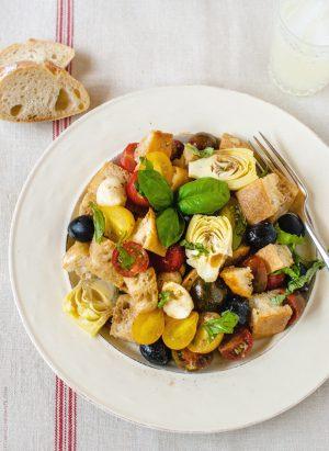 Panzanella with Artichokes and Olives | www.kitchenconfidante.com