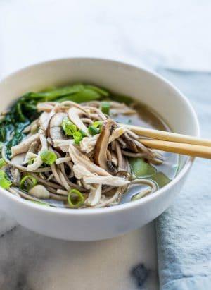 Chicken Mushroom Soba Noodle Soup | Kitchen Confidante