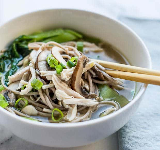 Chicken Mushroom Soba Noodle Soup | Kitchen Confidante