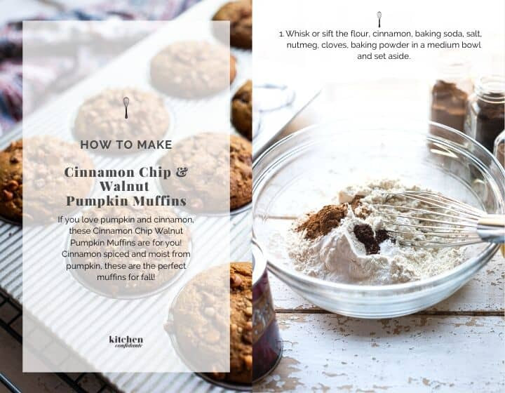 Step by step instructions how to make Cinnamon Chip and Walnut Pumpkin Muffins.
