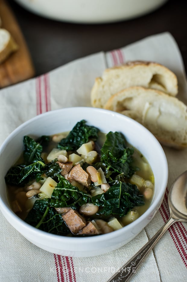 Kale Parsnip & Sausage Soup | Kitchen Confidante