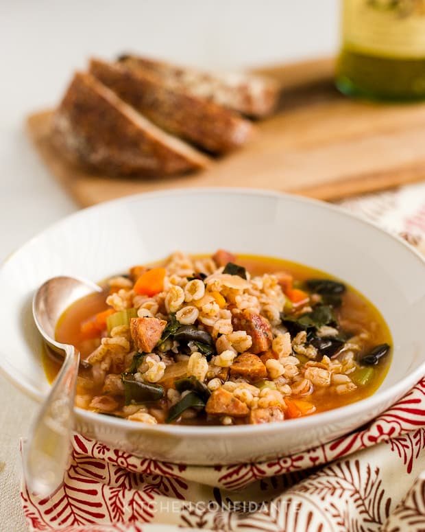 Farro Soup with Red Chard and Sausage | Kitchen Confidante