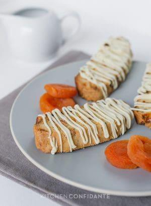 Apricot-White Chocolate Biscotti | Kitchen Confidante | Plated
