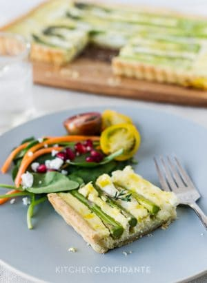 Buttermilk Asparagus Quiche | Kitchen Confidante | Plated