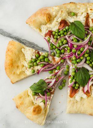 Ricotta Pizza with Prosciutto and Fresh Pea Salad | Kitchen Confidante | Sliced