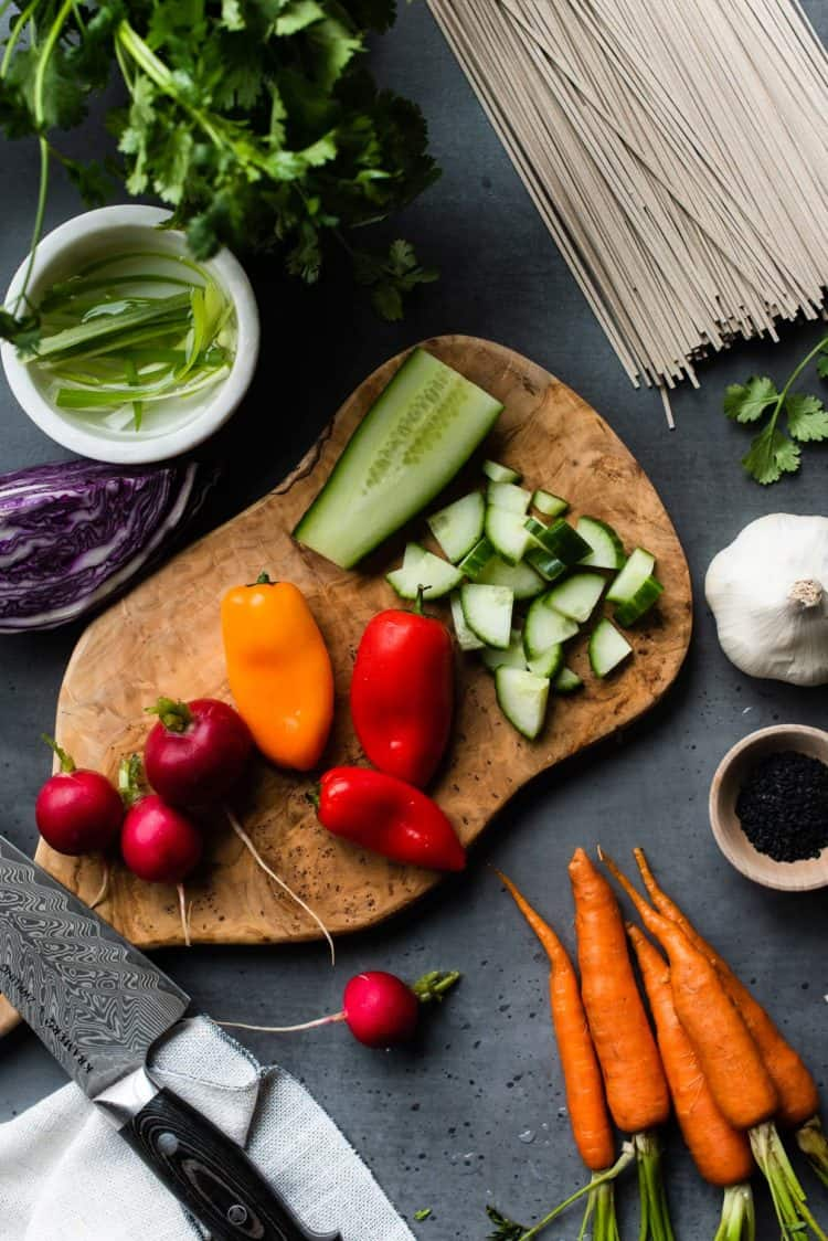 Fresh ingredients for Soba Noodles with Chicken and Spicy Peanut Sauce.