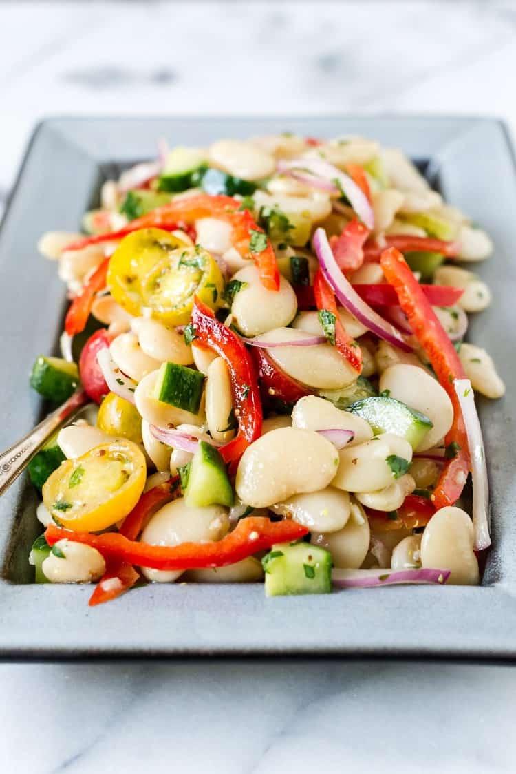 Lima Bean Salad on a gray dish.