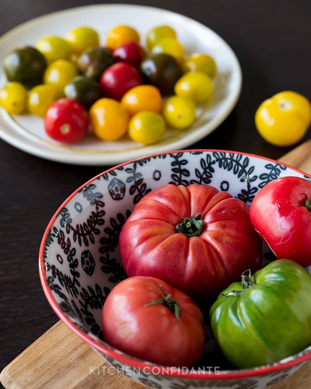 Bowls filled with a variety of tomatoes.