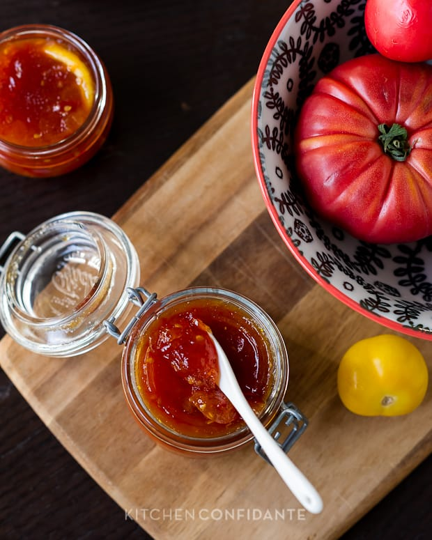 Tomato Jam in a glass jar.