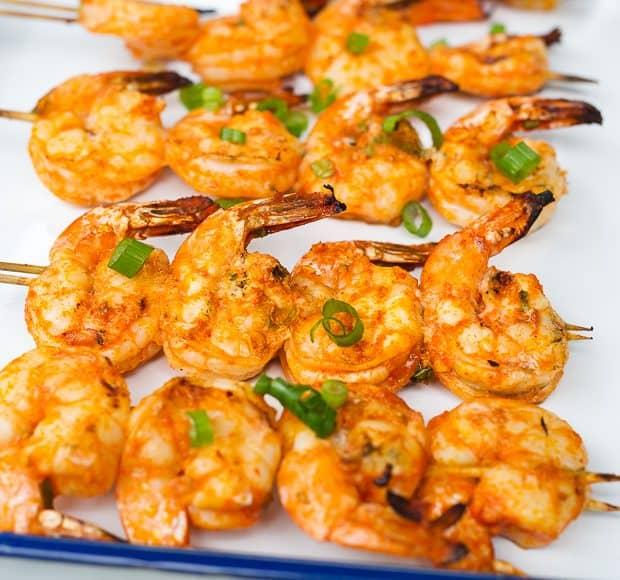 Thai-Curry Marinated Grilled Shrimp | www.kitchenconfidante.com | Grilled
