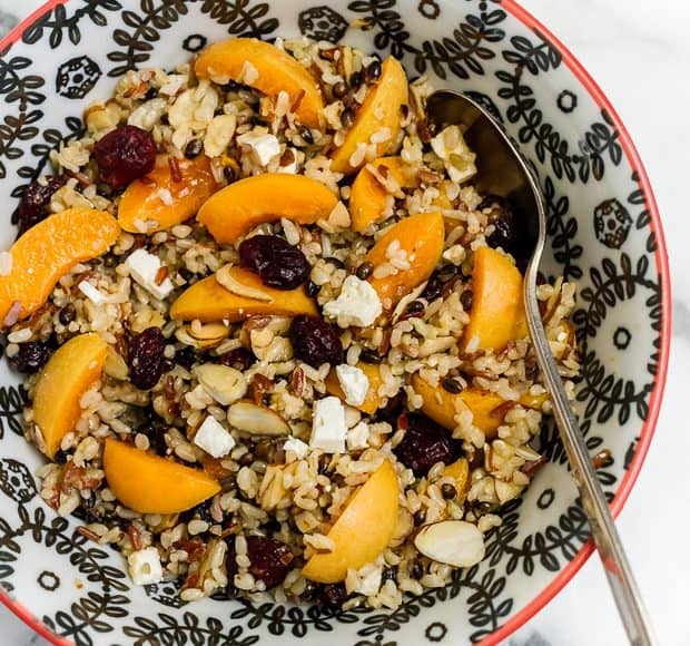 Wild Rice Salad with Apricots, Almonds and Apricot Dressing | www.kitchenconfidante.com