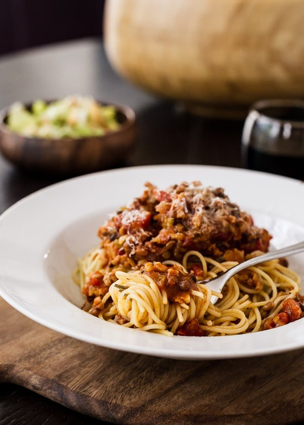 Spaghetti with Chicken Sausage and Lentil Bolognese | www.kitchenconfidante.com