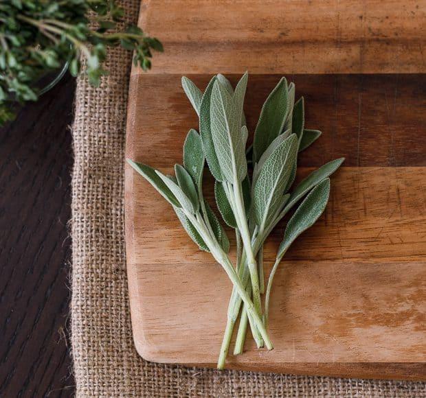 fresh thyme on cutting board