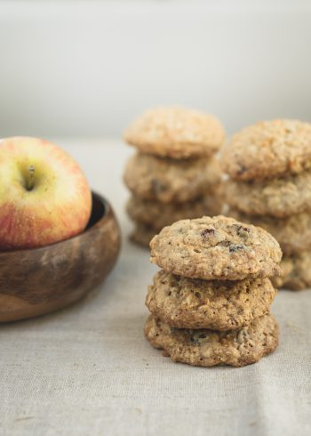 A stack of Apple Cranberry Oatmeal Cookies.