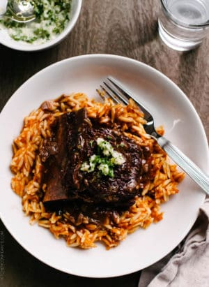 Braised Chipotle Short Ribs served on a white plate.