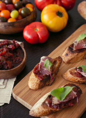 Fire Roasted Tomato Jam Crostini | www.kitchenconfidante.com