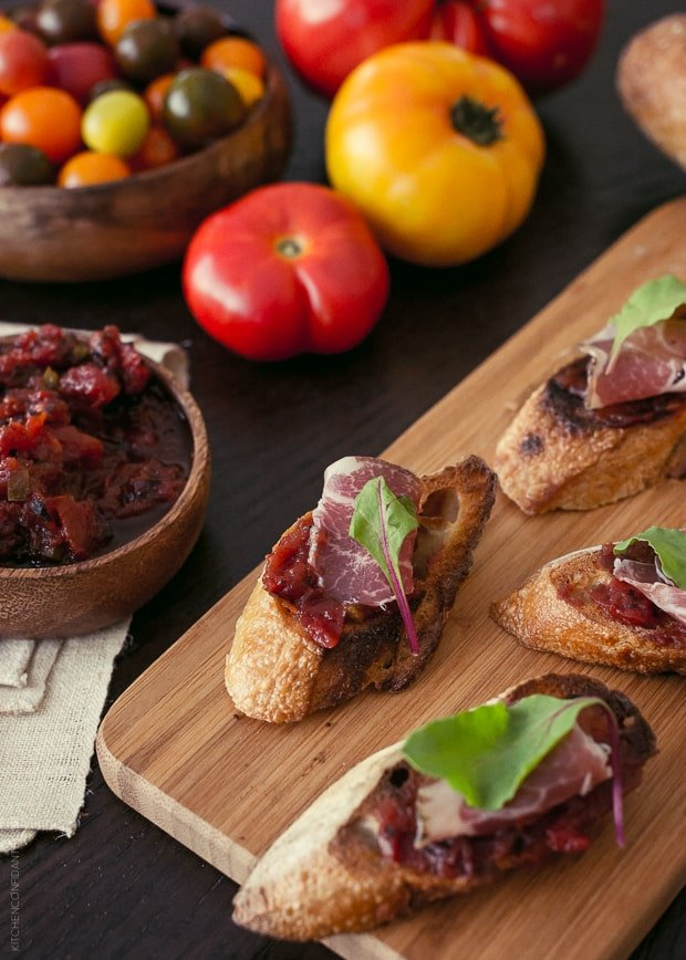 Fire Roasted Tomato Jam Crostini | www.kitchenconfidante.com