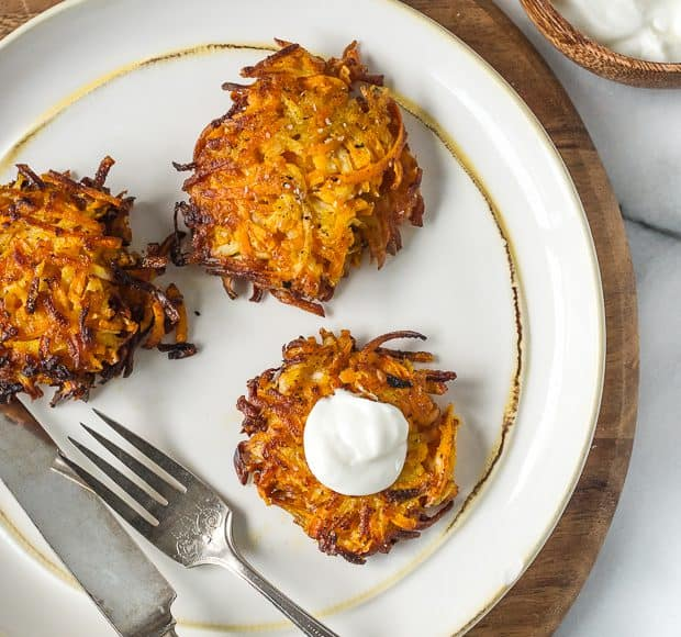 Sweet Potato, Turnip and Parsnip Latkes | www.kitchenconfidante.com