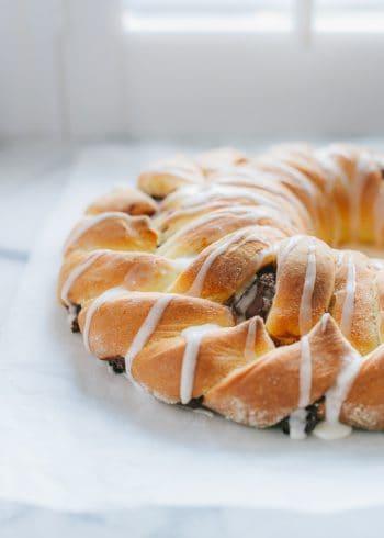 Braided Nutella Bread drizzled with a sugar glaze.