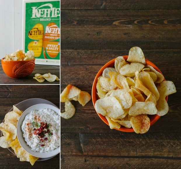 Three images in a collage featuring potato chips and dip.