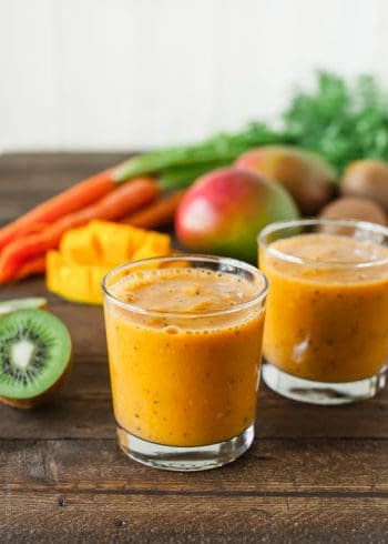 Carrot Mango and Kiwi Smoothie in glasses