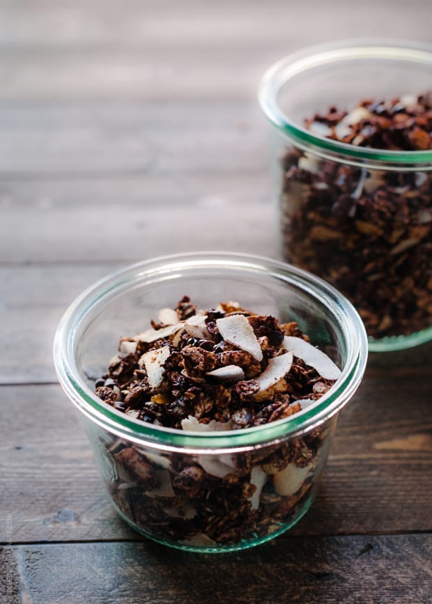 Glass cups filled with homemade granola.