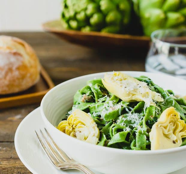 Homemade Spinach Fettucine with Creamy Artichokes and Chicken Sausage Sauce | www.kitchenconfidante.com
