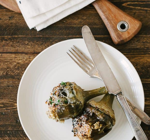 Toasted Quinoa Stuffed Artichokes | www.kitchenconfidante.com | Stuffed with wholesome quinoa & delicious feta cheese, this makes for a wonderful side dish, or a meal all its own!