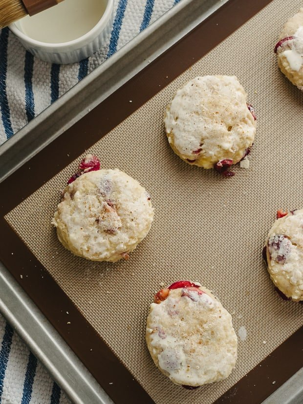 Cherry Nutella Scones on a baking sheet.