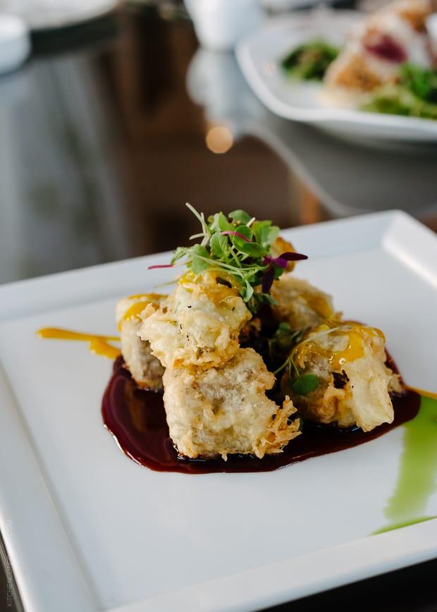Gourmet plated food at the Kahala Resort.