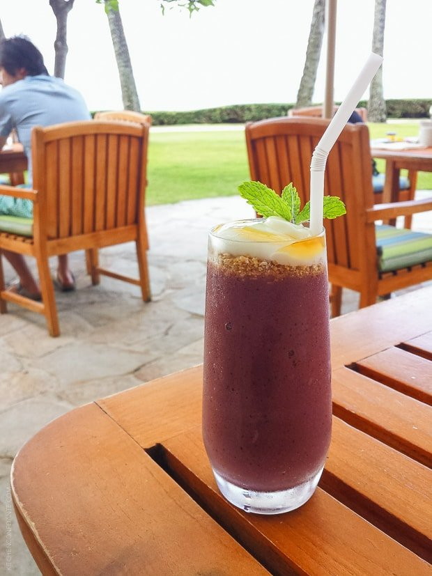 Acai Smoothie on a table in Honolulu.