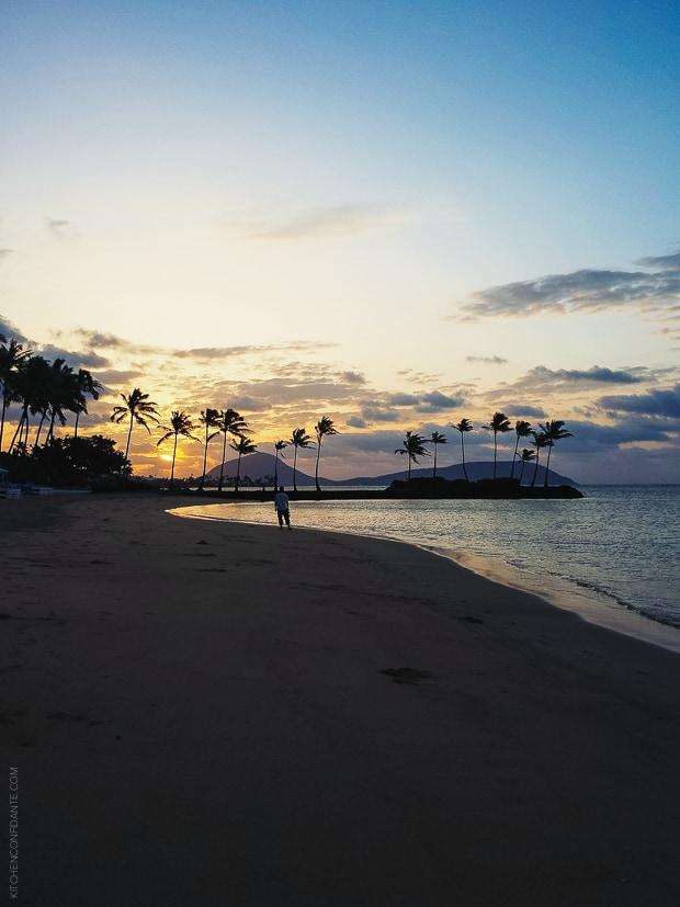 The beach at night in Honolulu.
