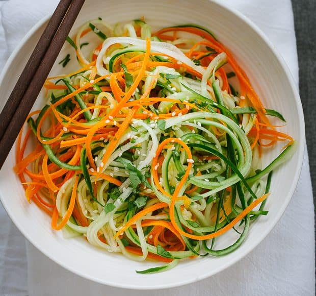 Asian Cucumber Carrot Slaw | www.kitchenconfidante.com