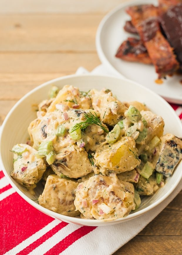 Buffalo Ranch Grilled Potato Salad | www.kitchenconfidante.com