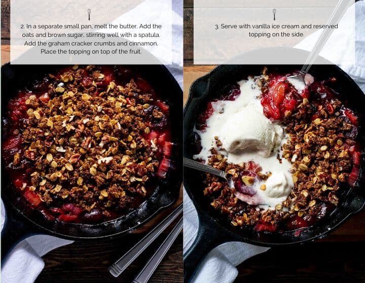 Step by step instructions for making cherry crisp.