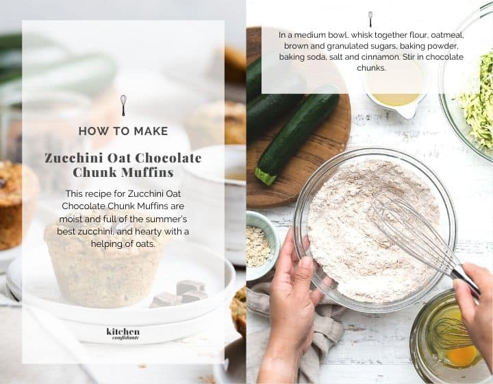 Step by step instruction for how to make Zucchini Oat Chocolate Chunk Muffins.